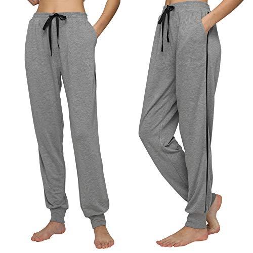 Mnemo - Pantalones de dormir para mujer, con bolsillos y cinta cómoda, para el tiempo libre gris mezclado L