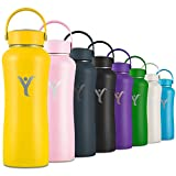 DYLN Insulated Water Bottle | 32 oz (950 mL) | Creates Premium Alkaline Water On-The-Go | Keeps Cold for 24 Hours | Stainless Steel Reusable Bottle | Handle Cap | Bumble Yellow