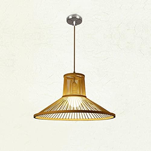 KAIKEA Linterna Antigua Iluminación Colgante Ratán Tejido de luz Individual Forma de triángulo Natural Colgante de Techo Luz Beige Lámpara de Techo con cordón Ajustable para Comedor Sala de Estar