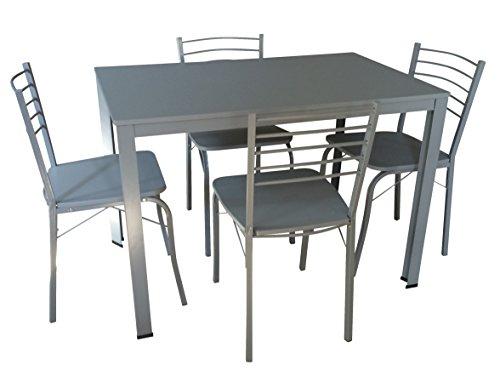 DEGAMO Essgruppe Coburg 5-teilig, Stahlgestell Silber, Tisch 110x70cm, Oberflächen grau