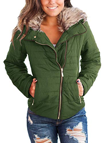 Vetinee Women Casual Faux Fur Lapel Zip Pockets Quilted Parka Jacket Puffer Coat Army Green Medium (Fits US 8-US 10)