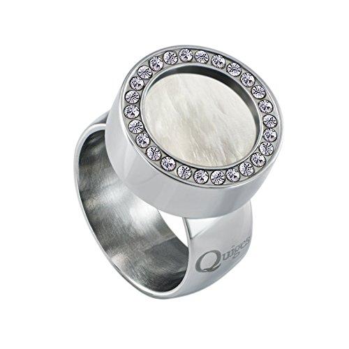 Quiges Silber Edelstahl Ring mit Zirkonia 12mm Mini Coin Halter Wechselring und Austauschbar Weiße Muschel Coin in Größe 18mm