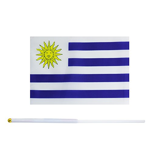 50 Pack Hand Held Small Mini Flag Uruguay Flag Uruguayan Flag Stick Flag Round Top National Country Flags,Party Decorations Supplies For Parades,World Cup,Sports Events,International Festival