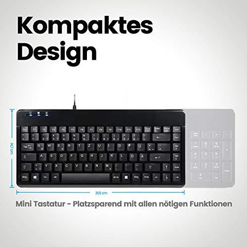 Perixx PERIBOARD-409 U Mini USB Tastatur Schnurgebunden - Kleines Praktisches Format - 1,80m Kabel - Klavierlack - QWERTZ Deutsches Layout