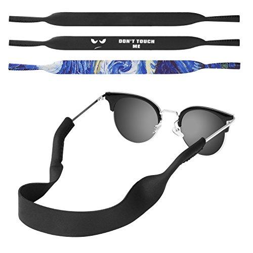 MoKo Neoprene Brillenband, [3 Stück] Universal Sonnenbrille Eyewear Strap Brillenkordel schwimmende Material Anti-Rutsch Schutzbrille für Kinder Männer Frauen, Schwarz/Sterne Nacht/Don't Touch Me