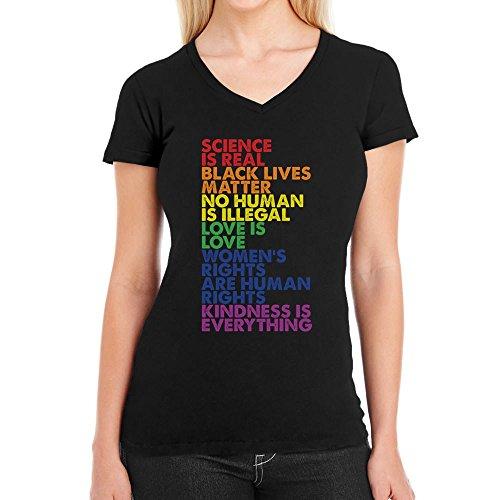Love is Love Pride LGBT Kleidung - Lesbian & Gay Damen T-Shirt V-Ausschnitt Medium Schwarz