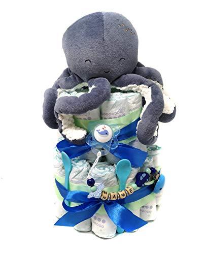 Elfenstall Windeltorte/Pamperstorte mit Kuscheltier Octopus von Little Dutch und Schnullerkette als tolles Geschenk/Geschenkset zur Geburt oder Taufe auf Wunsch mit Name des Babys