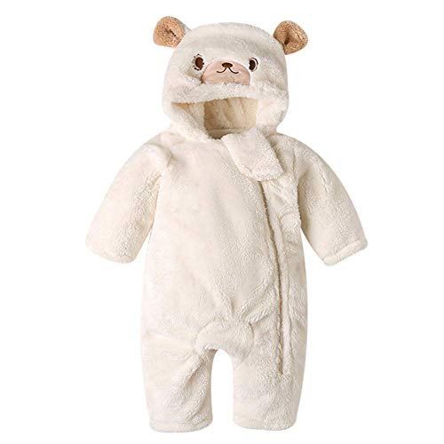 AMIYAN Baby Jungen Mädchen Fleece Overall Neugeborene Baby Winter Schneeanzüge Einteiler Jumpsuit süße Tier Baby Strampler Outfit Onesie 3-18 Monate, Weiß, 73