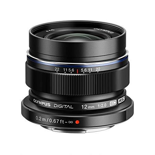 Olympus M.Zuiko Digital ED 12mm F2.0 Objektiv, lichtstarke Festbrennweite, geeignet für alle MFT-Kameras (Olympus OM-D & PEN Modelle, Panasonic G-Serie), schwarz