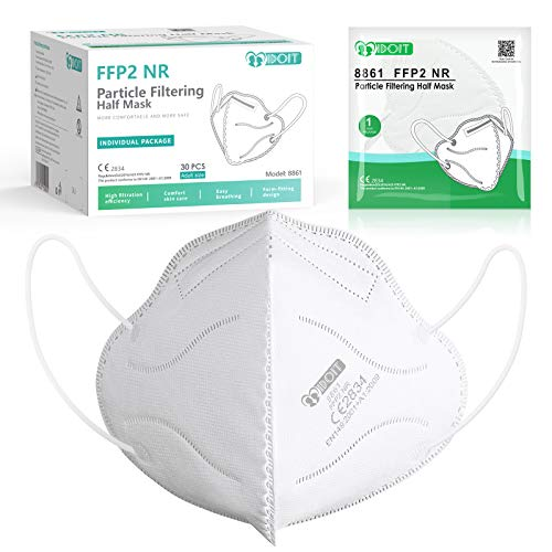 IDOIT Mascherine FFP2 30 PCS Certificate CE Semimaschera filtrante 5 Strati mascherine monouso sigillate singolarmente
