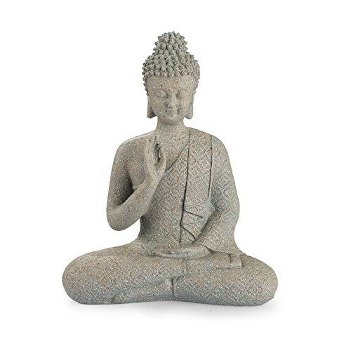 Meditating Buddha Statue, Zen Buddha Figurine in Brown Sandstone Finish, Thai Buddha Sculpture for Home & Garden Decorations (9.5' H)