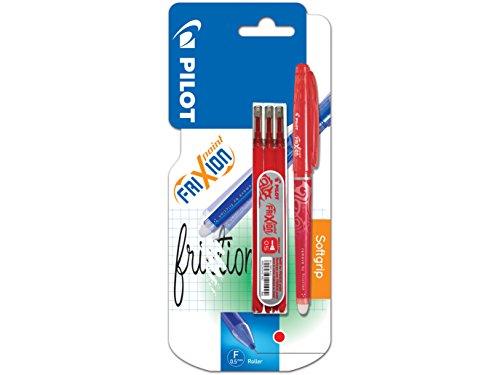 Pilot 226400 Frixion Point - Bolígrafo (punta fina, incluye 3 cartuchos de tinta de recambio), color rojo