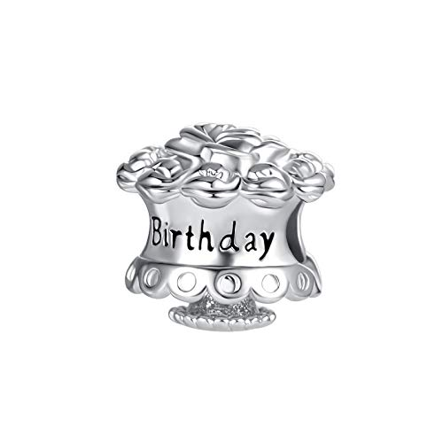 SBI Jewelry Happy Birthday Charm for Bracelets Engraved Rose Cake Charm Pendant Gift for Women Girls Sister Wife Friend