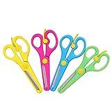 4 Unids Tijeras de Corte de plástico Primavera niños Tijeras Preescolar Herramientas de educación para niños (Color al Azar)
