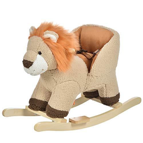 HOMCOM Kids Children Rocking Horse Plush Ride On Lion Seat w/Sound Wood Base Seat Safety Belt Toddler Baby Toy Brown