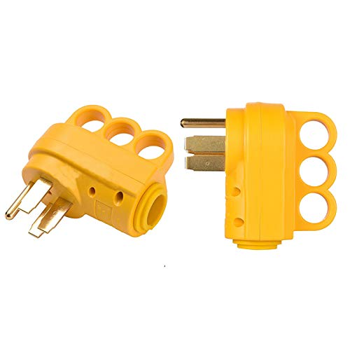 Bestdealing RV Receptacle Plug Electrical Heavy Duty RV 50 AMP Male Replacement Plug Durable and Safer Plug With Easier Grip Yellow Color