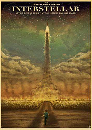 yangchunsanyue Klassischer Film Interstellares Poster Nolan McConaughey Retro Poster Und Drucke Home Room Decor Film Wandaufkleber 50X70Cm No Frame (Zr-823)