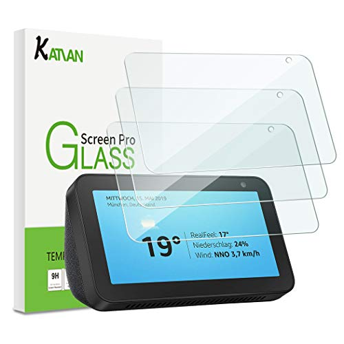 [3 Pack] Amazon Echo Show 5 Screen Protector, KATIAN HD Clear Protector [Anti-Scratch] [Anti-Fingerprint] [No-Bubble] [Case-Friendly], 9H Hardness Tempered Glass Film for Amazon Echo Show 5