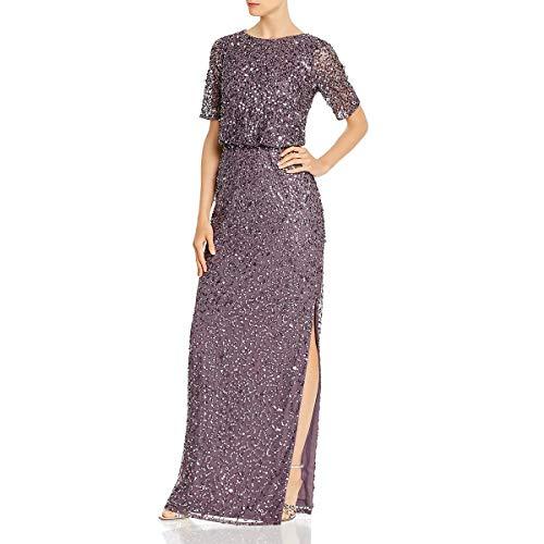 Adrianna Papell Women's Beaded Long Dress, Moonscape, 2