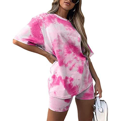 Damen Casual 2-teilige Outfits Summer Tie Dye Buntes Print Kurzarm-T-Shirt + Skinny Shorts Sweat Set Trainingsanzug für Lady (Rosa, S)