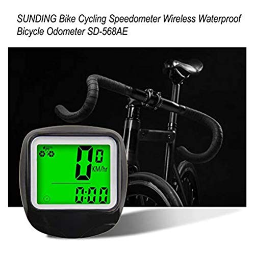 Haplws Computadora de Bicicleta Cableado Velocímetro de Bicicleta Impermeable Cuentakilómetros con Despertador automático Pantalla LCD Luz de Fondo Velocidad de Ciclo