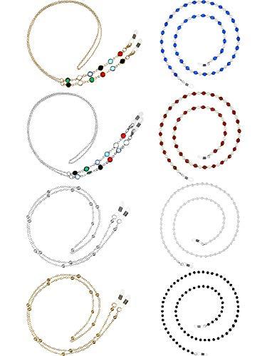 8 Piezas Cadenas de Gafas Soporte Correa de Gafas de Sol con Cuentas Cadera Soporte de Gafas Elegantes, 9 Estilos (Blanco, Negro, Rojo, Azul Oscuro, Dorado, Plata)