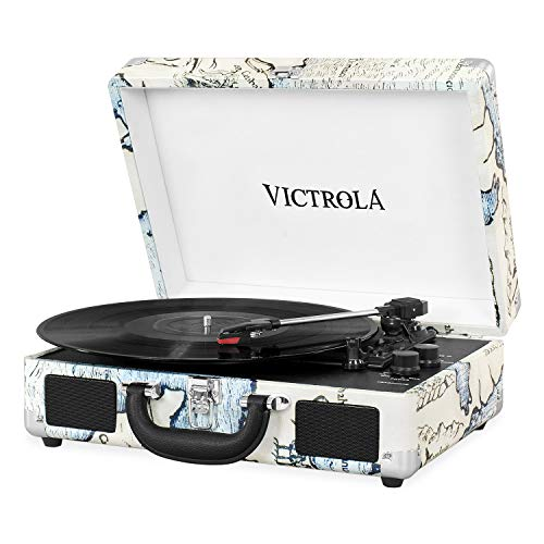Vintage 3-Speed Bluetooth Portable Suitcase Record Player with Built-in Speakers | Upgraded Turntable Audio Sound| Includes Extra Stylus | Retro Map () - Victrola VSC-550BT-P4