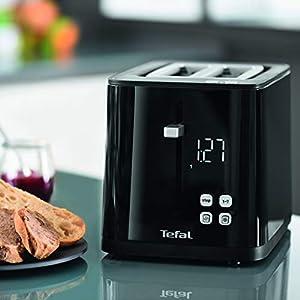TEFAL SMART N' LIGHT Grille-pain toaster noir 2 Fentes extra large Thermostat réglable 7 Positions Affichage digital Favoris Arrêt Décongelation RéchauffageTT640810