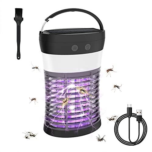Lámpara Antimosquitos Solar, 3 Modos de Brillo e IP66 a Prueba de Agua LED Mosquito Lámpara Trampa, Carga USB y Carga Solar Asesino Solar de Mosquitos por Carpa para Patio, Hogar, Cocina, Oficina