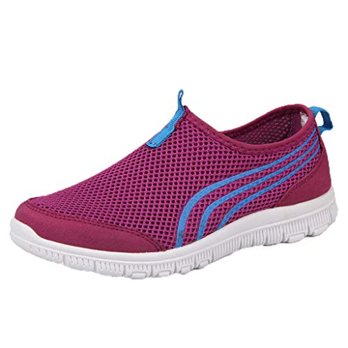 MRULIC Damen Sneaker Flache Stiefel Freizeitschuhe Fitnessschuhe Sport Leichte Laufschuhe Trainer Turnschuhe Atmungsaktive Sportschuhe Lässige Müßiggänger Weiche Schuhe(Violett,36 EU)