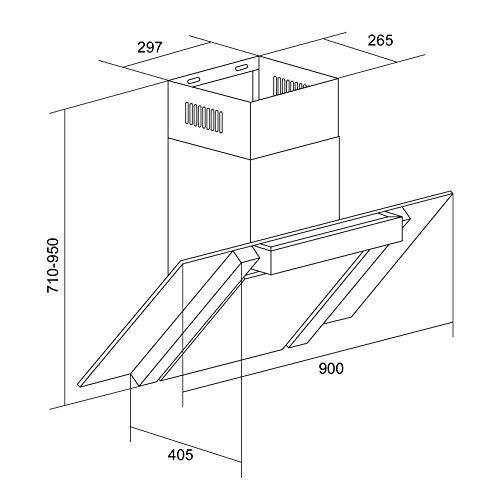 Klarstein RGL90WS | 90 cm-Anbau-Dunstabzugshaube aus gebürstetem Edelstahl für Abluftbetrieb | Abluftleistung bis zu 350 m²/h