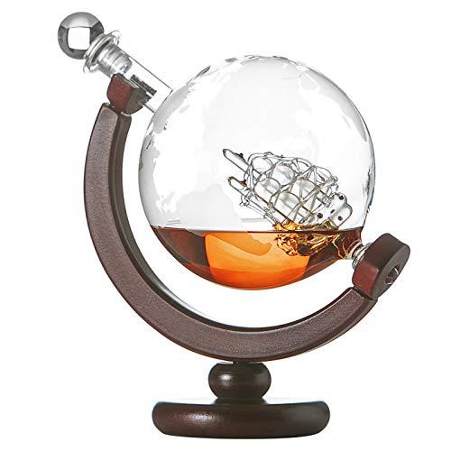 Pol, caraffa per whisky a forma di mappamondo con mappa del mondo incisa, decanter con supporto in legno, bottiglia di cognac con chiusura ermetica, decanter 850 ml, regalo per uomini