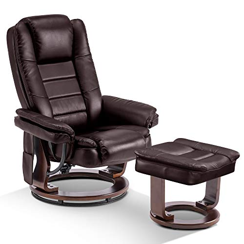 Mcombo Recliner with Ottoman Chair Accent Recliner Chair with Vibration Massage, 360 Degree Swivel Wood Base, Faux Leather 9096 (Dark Brown)