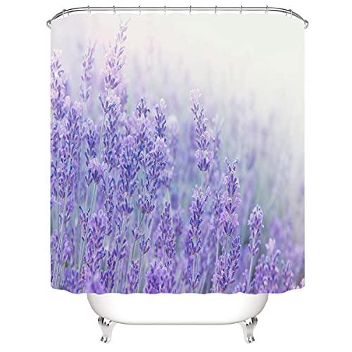 SUGOO 3D Duschvorhang Badezimmer Gardinen 100prozent Polyester Lavendel Mit gewichtetem Saum &12 Haken 3D Digital gedruckt Waschbar Dekorativer Duschvorhang Vorhang 180 * 180cm