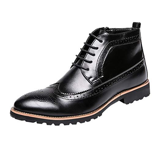 Celucke Budapester Herren Kurzschaft Stiefel Spitz Lederschuhe Schnürhalbschuhe Anzugschuhe Männer Derby Schuhe Business-Halbschuh Hochzeit Schnürschuhe