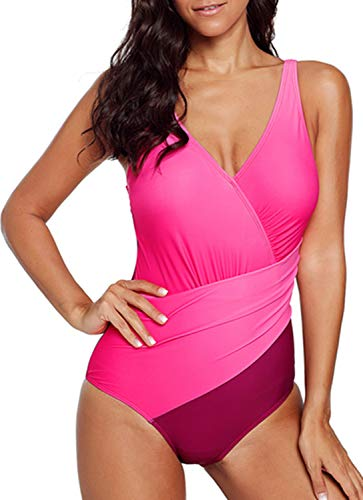 Dokotoo Tankini Set Badeanzug Damen Padded Ruched Bathing Suit Bandage Multicolor X-Form Ausschnitt Rosa Elastizität L