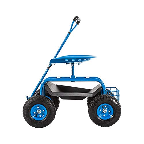 Kinsuite Garden Hauling Cart Rolling Work Seat Outdoor Utility Lawn Yard Patio Utility Cart 310 Lbs Load Capacity Adjustable Handle 360 Degree Swivel Seat Blue