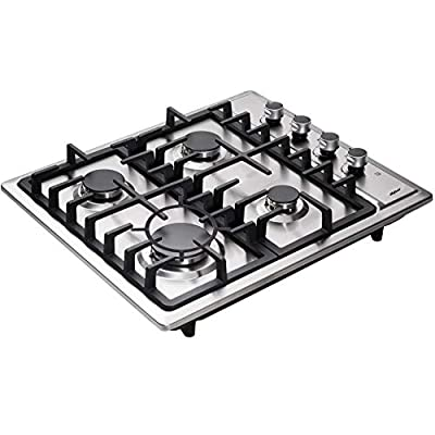 Hotfield Gas Cooktop 24 inch Sealed 4 Burners Stainless Steel Gas Cooktop Drop-In Gas Hob HF524-SA01Z Gas Cooker
