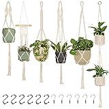 6-Pack Macrame Plant Hanger - with 12 Ceiling Hooks - Hanging Planter Indoor Outdoor - Hanging Plant Holder - Decorative Bohemian Plant Hangers (Cream)