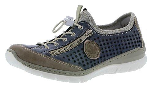Rieker L3296 Damen Halbschuh, Halbschuhe, Schnürer mit Zierreißverschluss blau Kombi (Steel/Jeans/Altsilber/silverflower / 42), EU 41