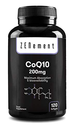 Coenzyme Q10 200mg, 120 capsules   Absorption maximale et biodisponibilité   CoQ10 100% naturel, sans OGM, sans gluten