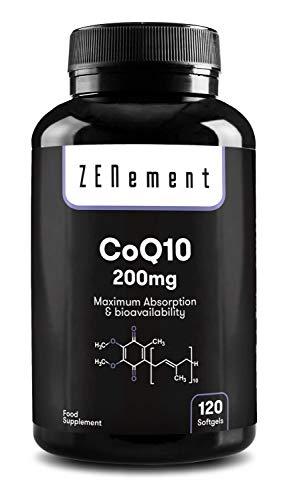 Coenzyme Q10 200mg, 120 capsules | Absorption maximale et biodisponibilité | CoQ10 100% naturel, sans OGM, sans gluten