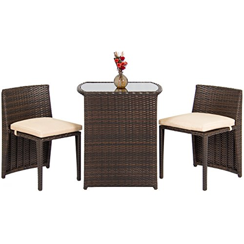 Best Choice Products 3-Piece Patio Wicker Bistro Set for Small Spaces w/Glass Top Table and 2 Chairs, Brown
