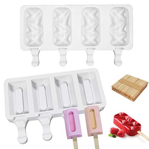 Amiispe Moldes para helados Kaishuai de silicona para helados, moldes de silicona para helados, 4 cavidades y helados