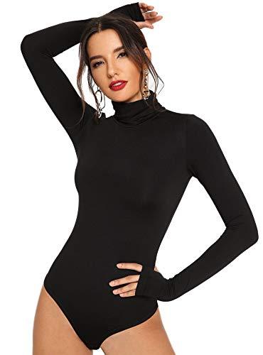 Floerns Women's Solid Leotard Long Sleeve Turtleneck Bodysuit A Black S