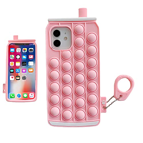 Push Pop Bubbles Phone Case Compatible iPhone 11-Kawaii Funny Cartoon Shockprof Protection Toy Case for Girls Kids Unique Dimples Fidget Sensory Toy Cover(Beverage can)