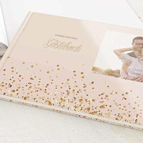 sendmoments Hochzeit Gästebuch Flitters, personalisiert mit Wunschbild, hochwertiges Hardcover-Buch, Querformat, mit 32 leeren Seiten oder mehr