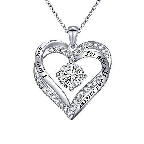 DAOCHONG Love Heart Necklaces for Women 925 Sterling Silver Rhodium Plated Cubic Zirconia I Love You for Always and Forever Heart Pendant Jewellery Anniversary/Birthday Gifts for Her/Mum/Wife