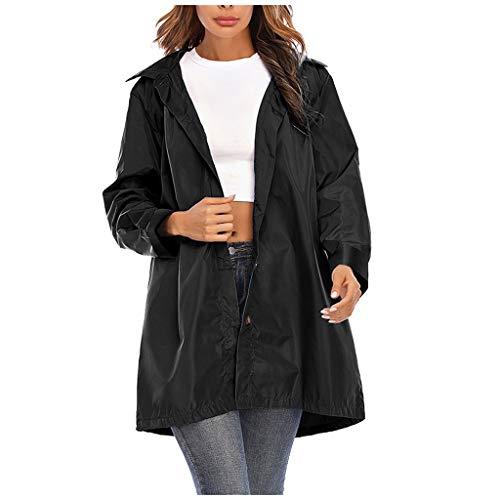 LHHH Ladies Rain Jacket Women Waterproof with Hood Lightweight Active Outdoor Raincoat Windbreaker, Hooded Waterproof Zipper Mid-Length Windproof Waterproof Raincoat Jacket