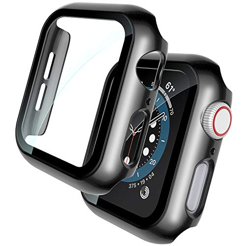TOCOL 2 Piezas Estuche rígido Negro Protector de Pantalla de Vidrio Templado Incorporado Compatible para Apple Watch Series 6 5 4 SE 44mm PC Cubierta Protectora General ultradelgada para iWatch 44mm